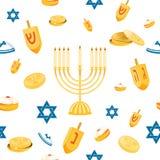 Hanukkah Bezszwowy wzór ilustracja wektor