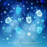 Hanukkah blue background with falling snow, light and dreidels. Modern festive blurred vector illustration for Jewish. Festival of light