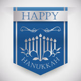 Hanukkah Blue Banner with Silver Ribbons, Vector Illustration Stock Photos
