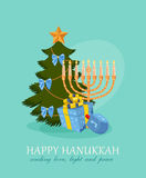Hanukkah burning candles and dreidels stock illustration