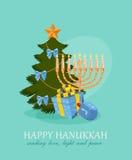Hanukkah burning candles and dreidels Royalty Free Stock Images