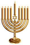 Hanukkah candleholder with 9 candles. Candlestick for 9 candles Stock Photos