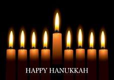 Hanukkah candles. Hanukkah nine candles with burning flames and text