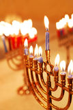 Hanukkah Candles. Menorahs lit for the eighth night of Hanukkah royalty free stock image