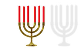 Hanukkah candles. Red candles on traditional Jewish Hanukkah candlestick with full shadow, white background