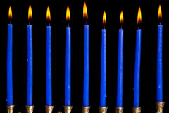 Hanukkah candles on black background Stock Photo