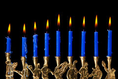 Hanukkah candles on black background royalty free stock photo