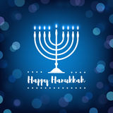 Hanukkah Candles on Bokeh Background. Happy Hanukkah Sign