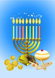 Hanukkah candles, donuts, oil pitc vector illustration