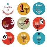 Hanukkah, 8 candles for eight day holiday Royalty Free Stock Image