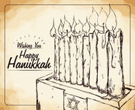 Hanukkah Candles in Hand Drawn Style, Vector Illustration Stock Photo