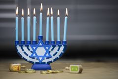 Hanukkah candles lit for the holiday celebration surrounded by d Royalty Free Stock Photo
