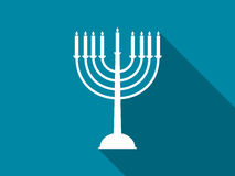 Hanukkah candles with long shadow. Vector Stock Image