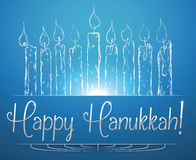 Hanukkah Candles Shining on Blue Background, Vector Illustration Royalty Free Stock Images
