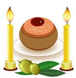 Hanukkah candles with traditional donuts Stock Photo