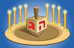 Hanukkah candles with traditional top toy stock illustration