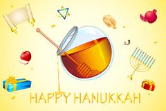 Hanukkah Card. Illustration of card for hanukkah with honey and star of david