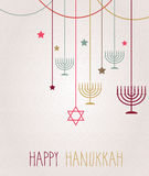 Hanukkah card. Hanging colorful menorah. Vector illustration Royalty Free Stock Photos