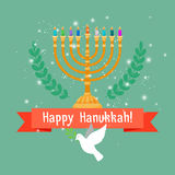 Hanukkah card with menorah and bird Stock Image