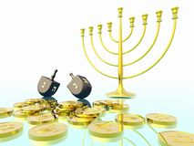 Hanukkah celebration. Dreidel. Jewish tradition. 3D rendering Stock Photos