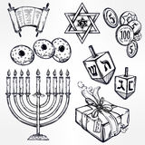 Hanukkah celebration elements set. Stock Image