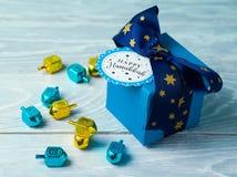 Hanukkah celebration with gift box Royalty Free Stock Images