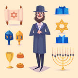 Hanukkah celebration. Set of colorful elements Royalty Free Stock Photo