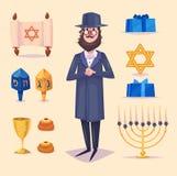 Hanukkah celebration. Set of colorful elements Royalty Free Stock Photo