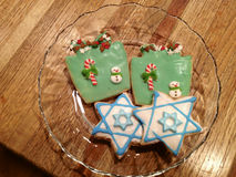 Hanukkah Chanukah & Christmas Xmas Cookies Stock Photo