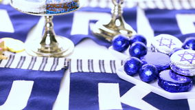 Hanukkah. Chocolates with Star of David for Hanukkah stock video footage