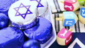 Hanukkah. Chocolates with Star of David for Hanukkah stock footage