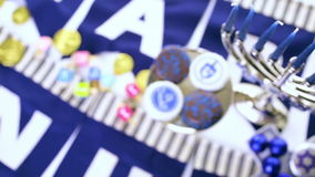 Hanukkah. Chocolates with Star of David for Hanukkah stock footage