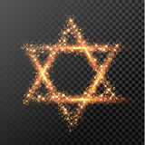 Hanukkah David Star symbol of glitter lights Jewish festival holiday. David Star of gold glittering lights. Happy Hanukkah Jewish festival holiday design element