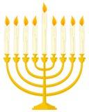 Hanukkah de oro Menorah Foto de archivo