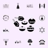 hanukkah dessert, Dreidel-pictogram Voor Web wordt geplaatst dat en het mobiele algemene begrip van Chanoekapictogrammen vector illustratie