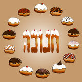 Hanukkah donuts collection set Royalty Free Stock Photography