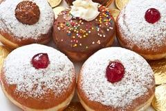 Hanukkah donuts. With cream,jam and chocolaten Stock Image