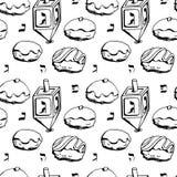 Hanukkah donuts seamless pattern stock illustration