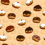 Hanukkah donuts seamless pattern Royalty Free Stock Image
