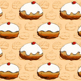 Hanukkah donuts seamless pattern Royalty Free Stock Photos
