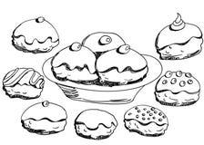 Hanukkah donuts set Stock Photos
