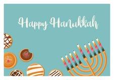 Hanukkah doughnut and menora, Jewish holiday symbols. sweet traditional bake. greeting card Stock Photo