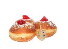 Hanukkah doughnut and spinning top Stock Images