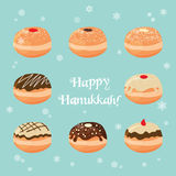 Hanukkah doughnut . Traditional jewish holiday Royalty Free Stock Photo