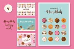 Hanukkah dougnut , Jewish holiday symbol. sweet traditional bake. Vector illustration greeting card