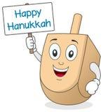 Hanukkah Dreidel Character Holding Sign Stock Images