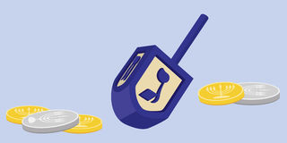 Hanukkah Dreidel with Gelt Stock Images