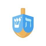 Hanukkah dreidel ikona w mieszkanie stylu Obraz Stock
