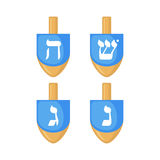 Hanukkah dreidels icons in flat style. royalty free illustration