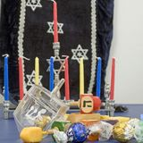 Hanukkah and dreidels square stock photo